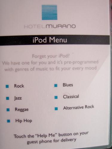 Hotel Murano iPod Menu