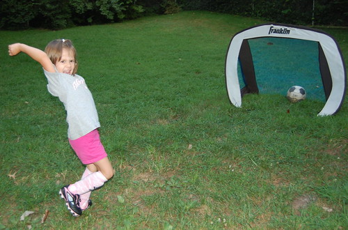 Trying new soccer shoes