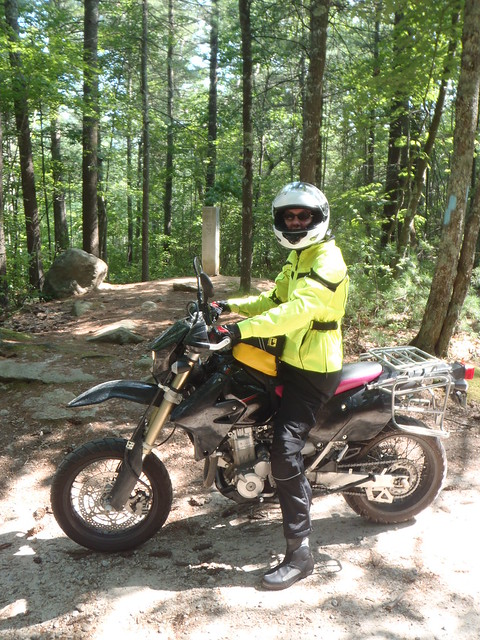 Elsa the DRZ on the border between Rhode Island & Connecticut on Yawgoog Road
