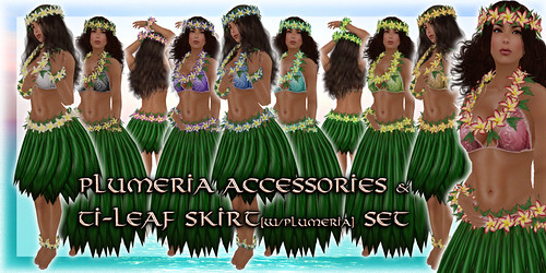 * Charmed * Hula Plumeria Accessories & Ti-Leaf Skirt Set -All Colors-