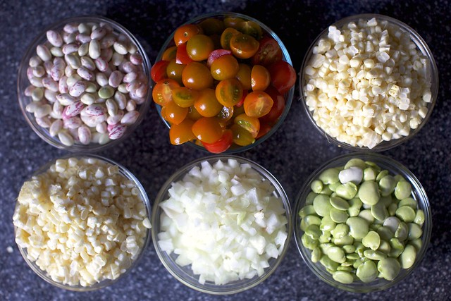 beans, maters, corn, onion and limas