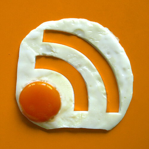 Photo of an egg in the shape of the RSS symbol