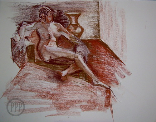 20 min Life drawing, Conté on BFK