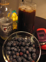 Breakfast: Gatorade & 2 slices cinnamon bread... later, an iced coffee and blueberries.