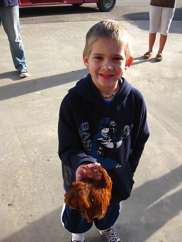boy with chicken's head