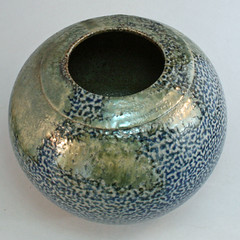 Salt-glazed spherical vase