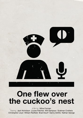 'One flew over the cuckoo's nest' pictogram movie poster