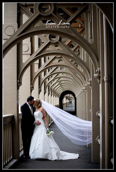 Wedding at Newcastle upon Tyne.  Posing at High-Level Bridge