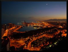 MALAGA AT NIGHT - SEEN FROM THE GIBRALFARO CAS...