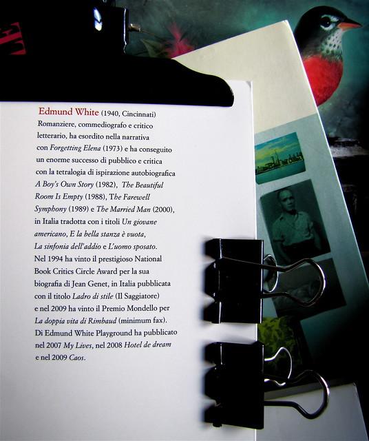 Edmund White, Ragazzo di città, Playground 2010, Graphic Designer: Federico Borghi , alla cop.: [ritr. fotog. b/n di E. W., © e anno non indicati] risvolto della q. di cop., 1 (part.), 1