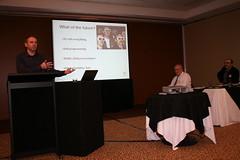 Alex Varley presenting about audio description.