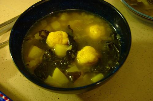 collard and potato soup with corn dumplings