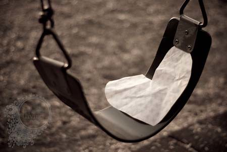 paper heart on a swing