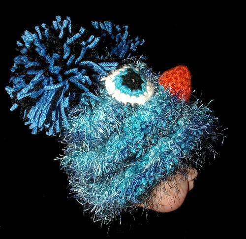 baby blue bird hat side