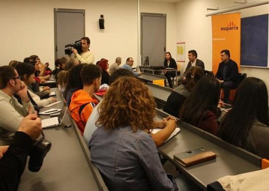 Joan Puigcercós y Oriol Amorós en la Universitat Pompeu Fabra