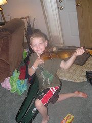 Parker received this violin from his great-grandparents