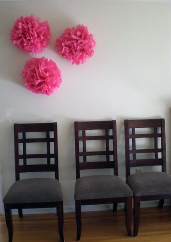 pink tissue paper poms