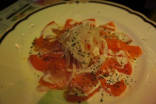 smoked salmon and onion