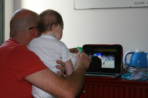 Geoff and Arlo - watching St George win the grand final