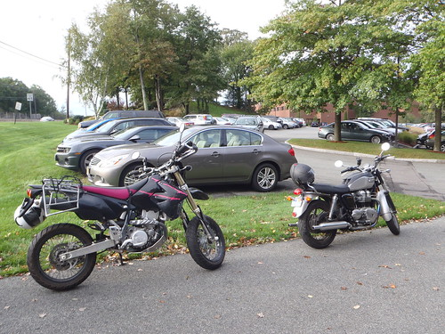 DRZ400SM with a Triumph Bonneville in MA