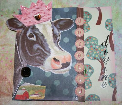 """Udderly divine bovine 4"""" x 4"""" Collage card"""