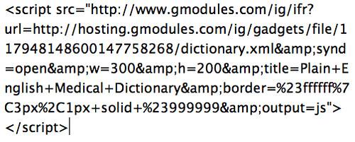 iGoogle Gadget Code: Plain Language Medical Dictionary