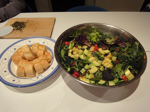 Pizza and vodka night: garlic bread and salad