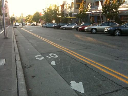 contraflow bike lane, reverse back-in parking