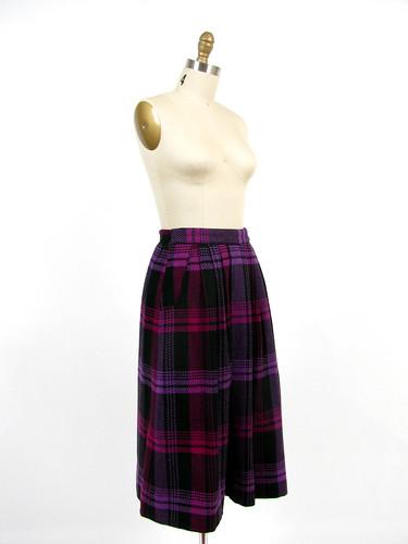 vintage 80's wool plaid full skirt