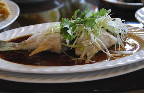 Steamed whole rod cod