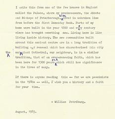 Bishop of Peterborough's Letter