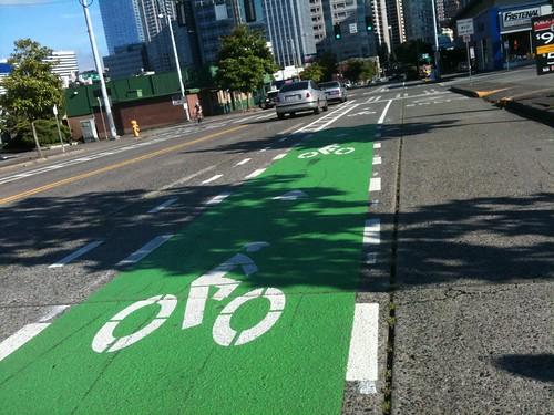 high contrast bike lane merge zone