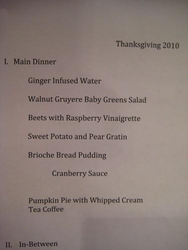 thanksgiving 2010 menu