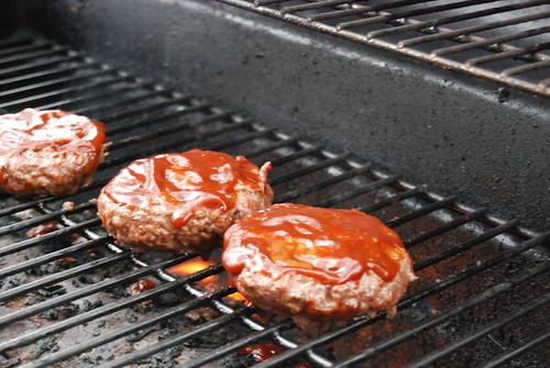 BBQ burger cooking