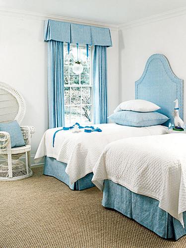 Blue upholstered twin beds Cottage Living