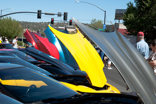 Corvettes in Prescott with Hoods Open
