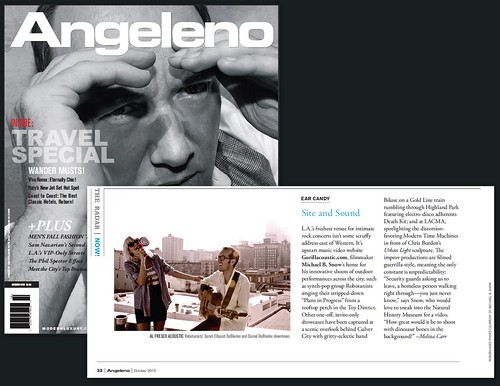 "Angeleno Magazine: ""On The Radar"" / Gorillacoustic.com Featuring ROBOTANISTS / October 2010"