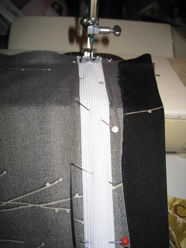 ruching pull taut while stitching