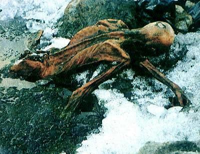 Oetzi the Iceman (in glacier)