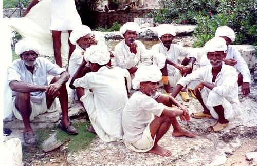 Men in India, all in white