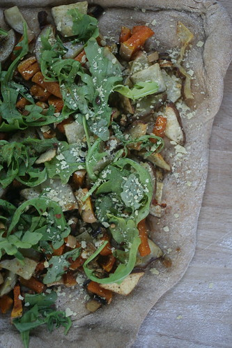 Squash, Eggplant, Potato and Arugula Pizza