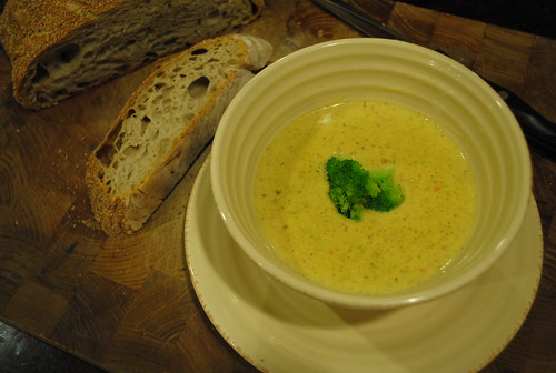 Broccoli Cheddar Soup and Bread