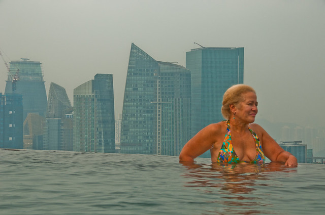 Chris in the infinity pool, Singapore