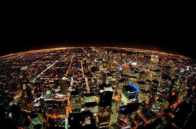 Toronto's skyline at night