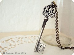 Lover's key. Vintage inspired key in silver