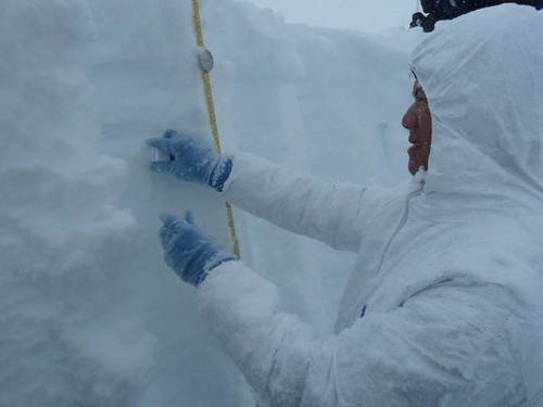 Gifford sampling snow for chemical analysis
