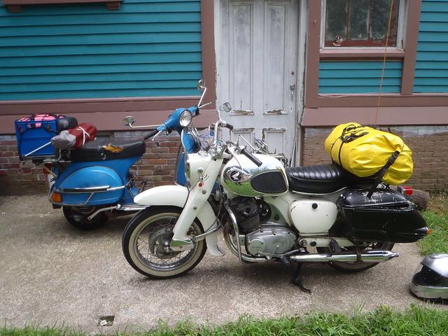 Vespa P200E and Honda Dream going camping