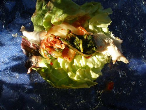 chicken and kim chee lettuce cups