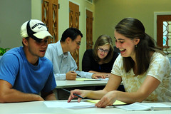 Tutors and Students Work in the New Writing Center