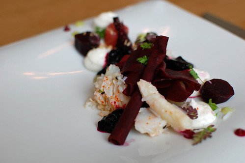 Textures of Beetroot with Crab, Green Apple and Whipped Goats Curd